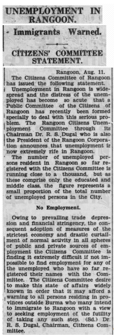 Newspaper Article   UNEMPLOYMENT IN RANGOON.